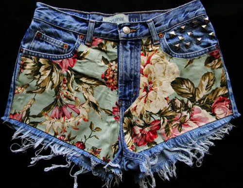 DIY denim & fabric shorts. I can't decide what else I want to add to it.