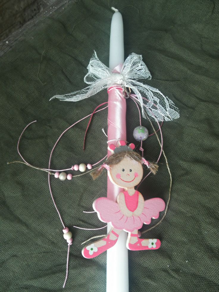 pink handmade easter candle for girls/ wooden element/ K.ompo.S - Handmade Jewel