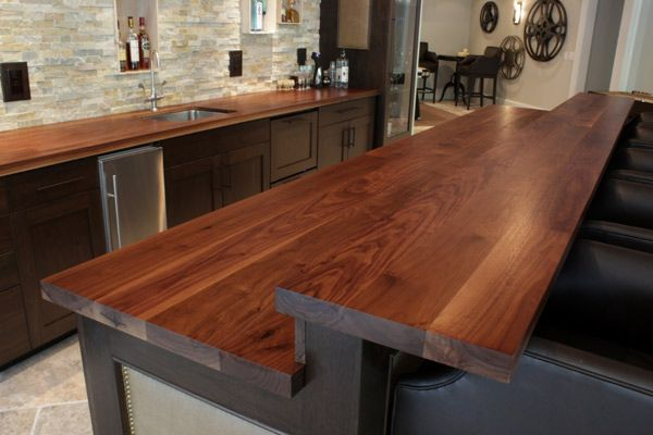 Custom Wooden Kitchen Island With Raised Bar Top In Walnut Hardwood