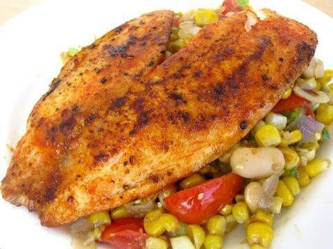 Pan seared talapia over indian corn full recipe at http for Tilapia fish recipes