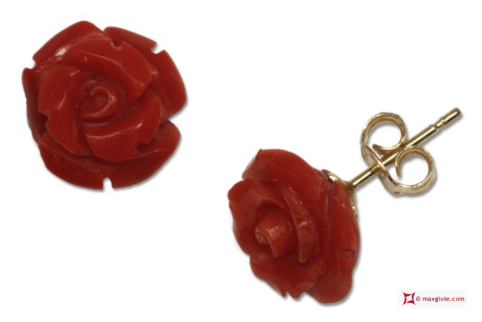 Extra Red Coral Earrings rose 10mm in Gold 18K [various clasps] Orecchini Corallo rosso Extra rose 10mm in Oro 18K [varie chiusure] #jewelery #luxury #trend #fashion #style #italianstyle #lifestyle #gold #silver #store #collection #shop #shopping #showroom #mode #chic #love #loveit #lovely #style #beautiful #pretty #madeinitaly #bestoftheday #earrings #earringsforsale