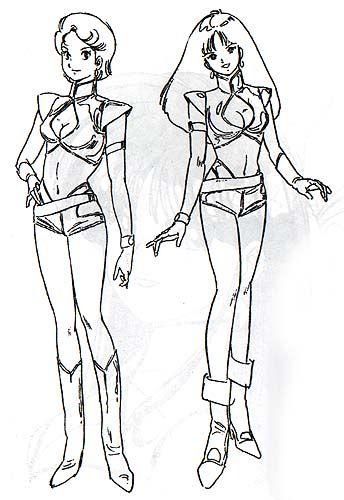 Yasuhiko Yoshikazu, the illustrator of the Dirty Pair novels, has a background in animation. He came up with these character designs for Kei and Yuri when the original anime was first proposed.  inspired by Classic Dirty Pair
