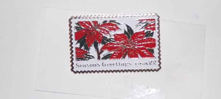 USPS Postage Stamp Pin Season's Greetings 22 Cent USA Poinsettia Hat ...