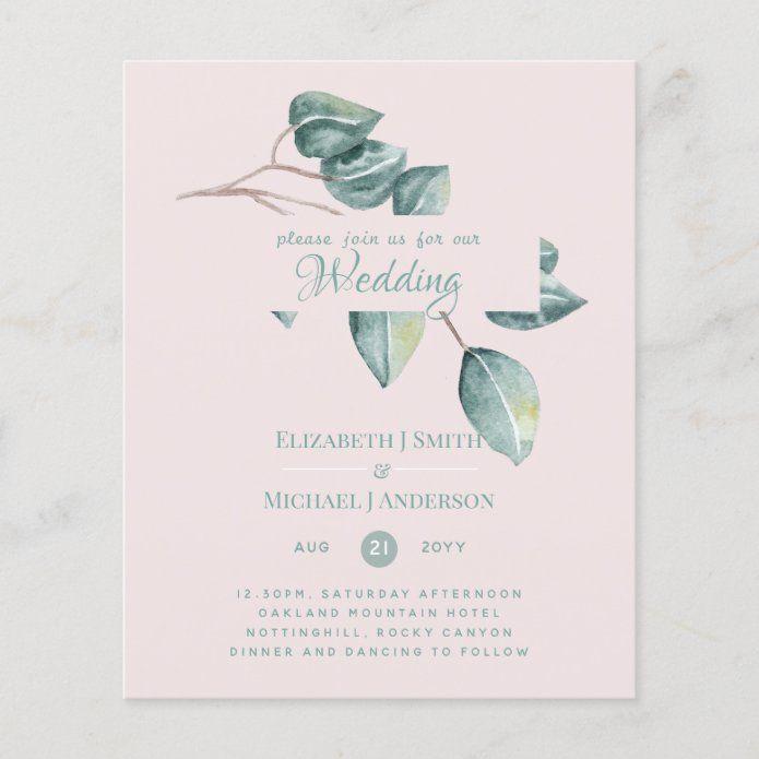 Budget Eucalyptus Greenery Leaves Wedding Invites Zazzle Com In 2020 Wedding Leaves Wedding Invitations Budget Wedding Invitations