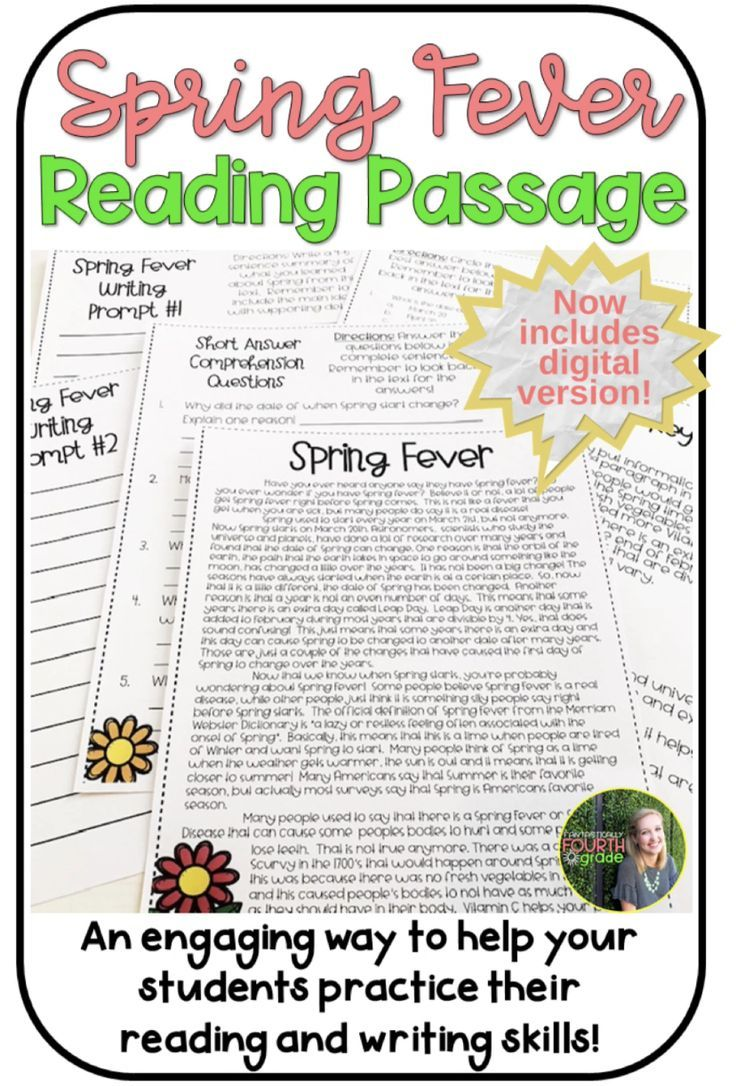 Spring Fever Reading Passage Digital And Printable Version Reading Passages Holiday Reading Passages Writing Skills [ 1086 x 736 Pixel ]