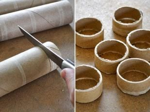 DIY Napkin Rings. Then you could put wrapping paper around them and they would look store bought