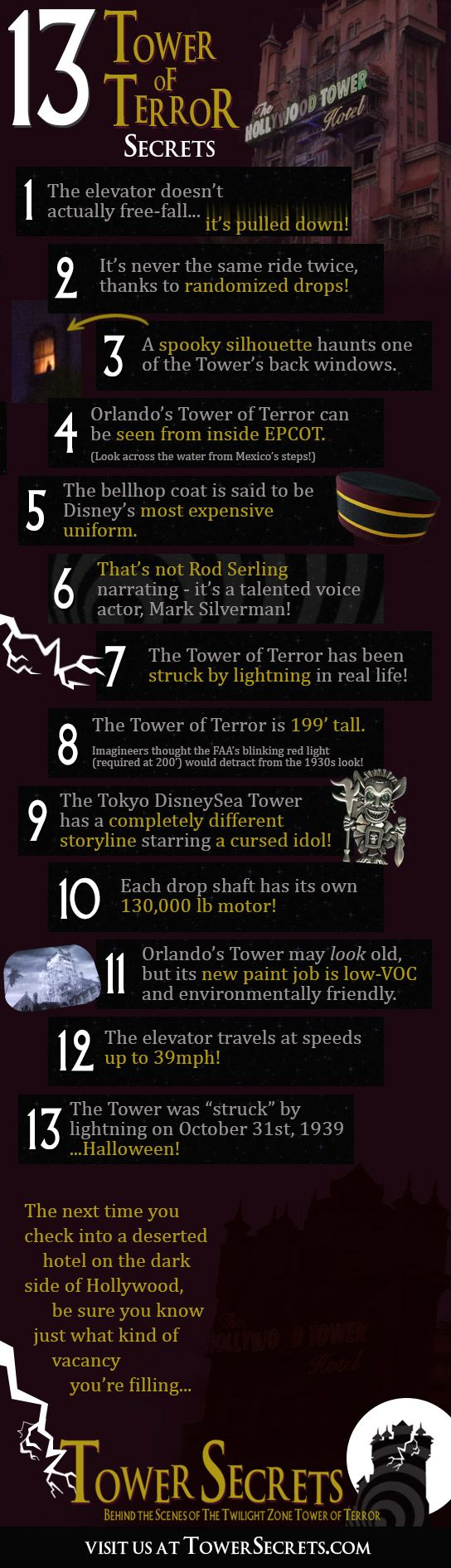 13 fun and spooky secrets about Disney's thrilling Tower of Terror ride! Visit http://TowerSecrets.com for an inside look at our favorite haunted hotel!     #Disney #TowerOfTerror