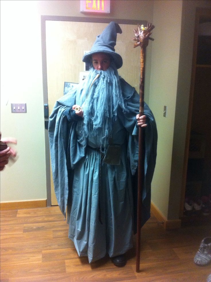 DIY Gandalf costume made from old bed sheets and a sweater.