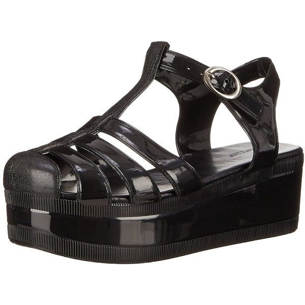 Wanted Shoes Women's Jellypop Jelly Sandal ($15) ❤ liked on Polyvore featuring shoes, sandals, wide width shoes, wide fit shoes, wide shoes, wide fit sandals and wide width sandals