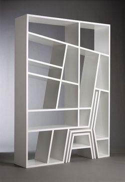 """Estante """"Shelflife"""" - com cadeira e mesa lateral embutidas, em MDF"""