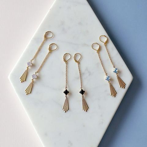 Art Deco fan earrings, Scorsese earrings by Sandrine Devost  #fanearrings #artdeco #brassjewelry #sandrinedevost #blackearrings #opalpink #handmadejewelry