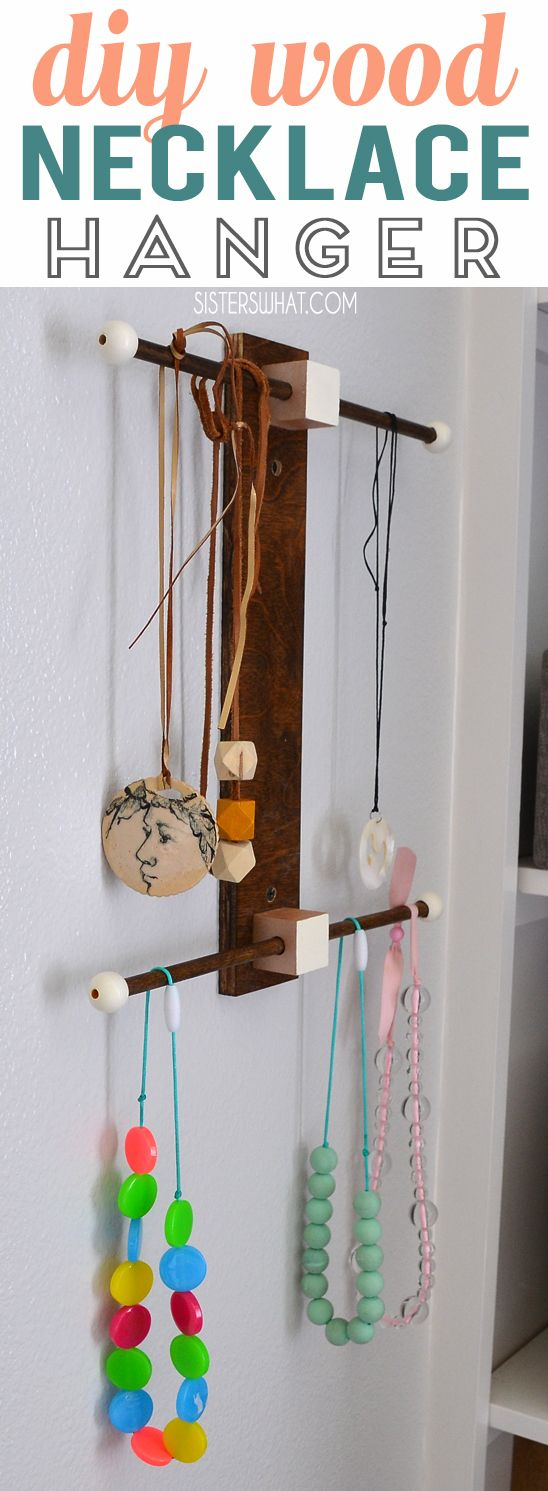 DIY stained wood necklace and bracelet hanger - an easy tutorial to keep your jewelry organized