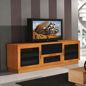 furnitech wide tv stand console cherry light cherry or wenge