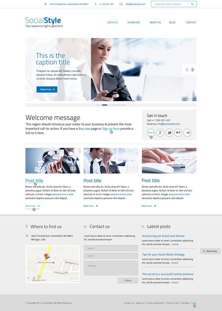 SOCIAL STYLE An asset for Corporate Websites. Clean, flexible, easy-going and responsive. Feature-packed so you can do so much with it.   For more information visit:  http://www.morethanthemes.com/?q=themes/socialstyle