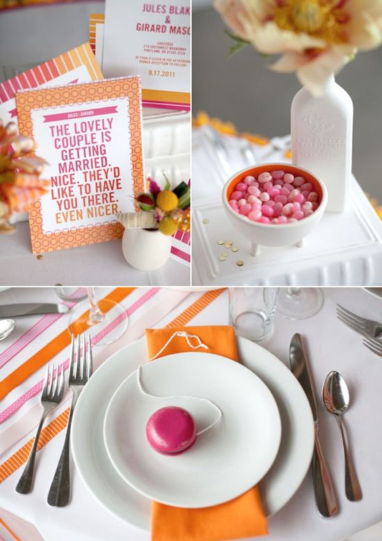Pink and Orange Wedding theme...Jelly Bellies for favors. Love the colors! I bet I could sew 30 orange napkins, and some pink runners for the tables.