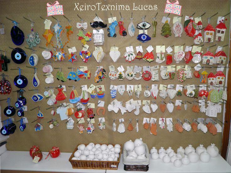 Greek handmade ceramics for christmas decoration Χειροποίητα κεραμικά διακοσμητικά Χριστουγεννιάτικα στοιχεία για διακόσμηση και συσκευασία
