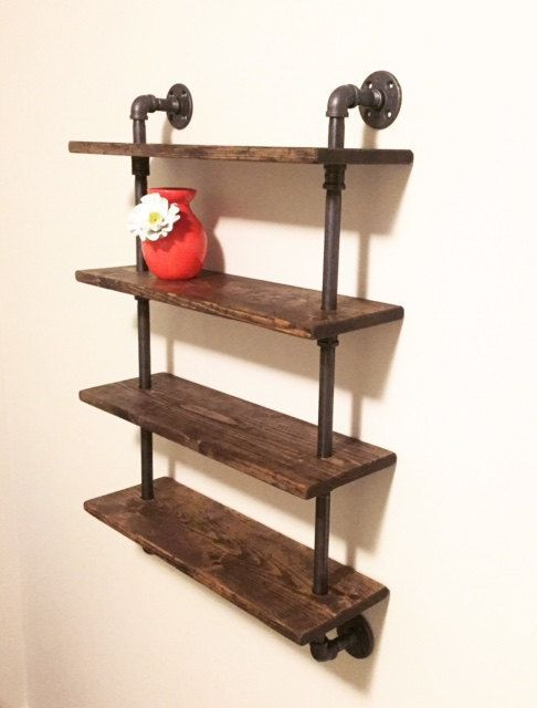 Industrial/Rustic Handmade Pipe Shelf Unit/ Four by Lulight