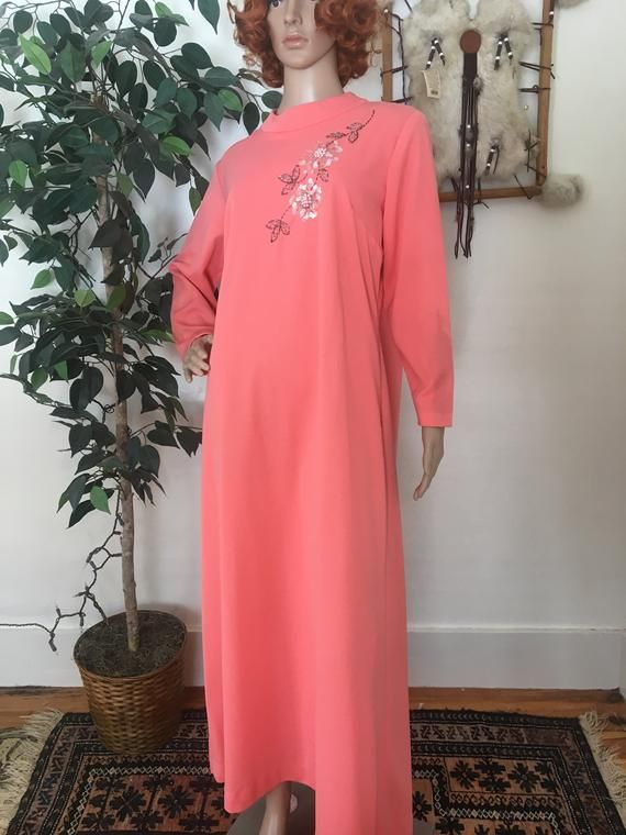 db9eeb5be3f Vintage 60s Coral Sequined Maxi Dress Large in 2019