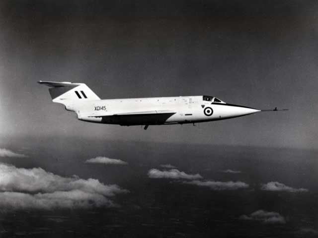 Saunders Roe SR53. Although the aircraft were sometimes armed with 2 De Havilland Firestreak Missiles. It was never intended it as the production aircraft.