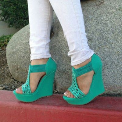 women's shoes bright green turquoise wedge sandal