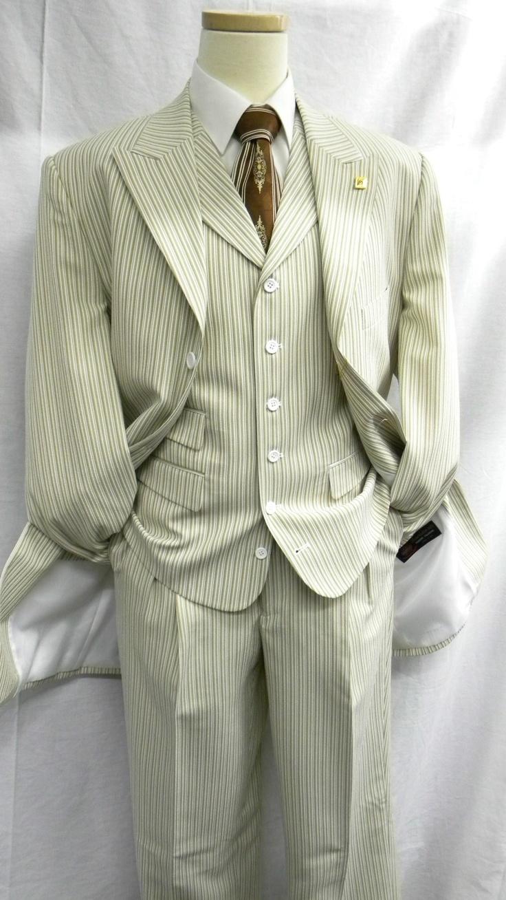 Stacy Adams Mens Tan Seersucker Audi Vested Suit