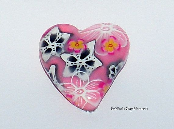 Brooch heart out of polymer clay pink with flowers spring summer