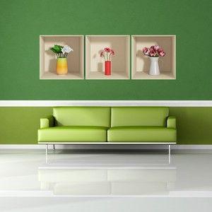 Sada 3 samolepek s 3D efektem Fanastick Flowers
