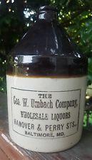 Antique Umbach Liquors Baltimore Advertising Stoneware Jug Wines Sherwood