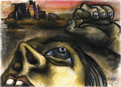 Albert Tucker, 'Despairing head' (1942), pastel on paper Australian War Memorial, Canberra. Purchased 1990.