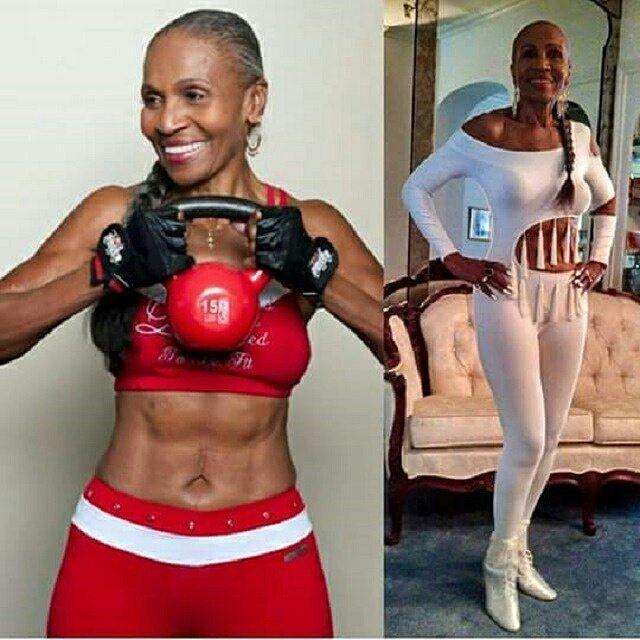 """#MM Ella es Ernestine Shepherd y en junio va a cumplir 80 años.  Sí 80 años.  Esto es para todos los que dicen que están """"muy viejos"""" o que tienen más de X años y es por eso que no pueden ponerse en forma. O para todos los que me preguntan si podrán tener el cuerpo que quieren a pesar que tienen 30 40 50 60 años. Sí puedes! Sí puedes tener el cuerpo que quieres y NO IMPORTA tu edad! Si tienes la determinación y la decisión de lograrlo y obtienes la ayuda y la orientación que necesitas…"""