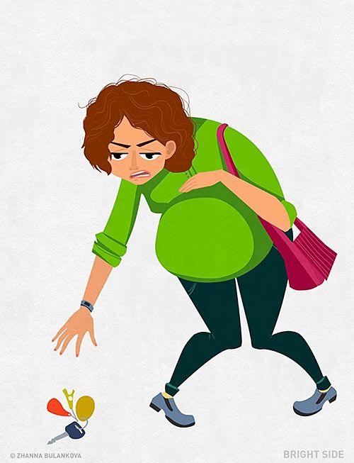 Δείτε τις πιο χαρακτηριστικές στιγμές της εγκυμοσύνης, που όλες οι μανούλες έχουν περάσει, μέσα από δώδεκα αστεία σκίτσα.