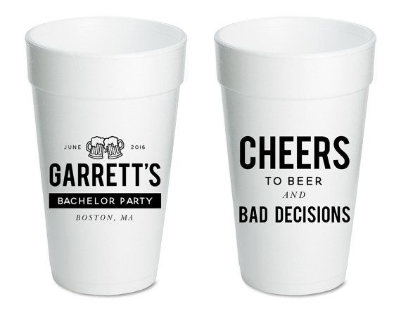 Bachelor Party Cups Bachelor Party Favors Custom Bachelor Party Favors Stag Night Favors Bachelor Party Gifts Foam Party Cups 1410 by SipHipHooray