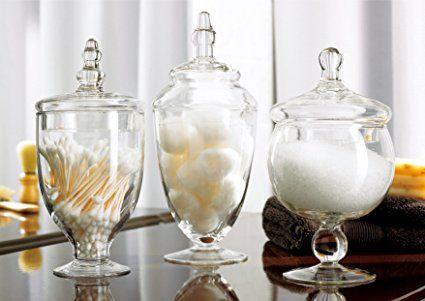 3 Piece Set Decorative Clear Glass Apothecary Jars / Wedding Centerpiece / Candy Storage Bottles - MyGift