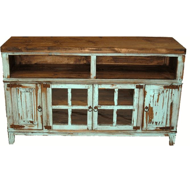 "Santa Fe Antique Turquoise 60"" TV Stand"