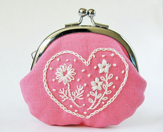 Handmade coin purse - embroidered heart flowers on pink linen
