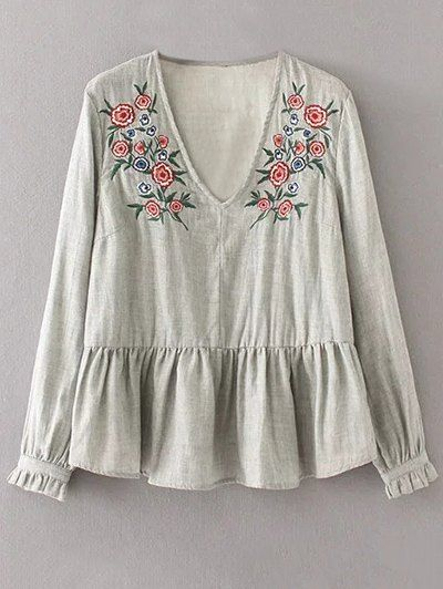 SHARE & Get it FREE | Peplum Hem Embroidered BlouseFor Fashion Lovers only:80,000+ Items • New Arrivals Daily Join Zaful: Get YOUR $50 NOW!