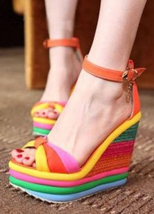 >> Click to Buy << Choudory Hot Sale Summer Pump High Heels Sandals Women Platform Straw Color Rainbow  Buckle Shoes Peep Toe Sexy Dress Sandals  #Affiliate