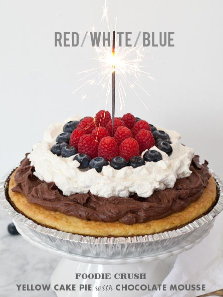 Red White and Blue Cake Pie #recipe is fun for birthdays or the #4thofjuly on foodiecrush.com