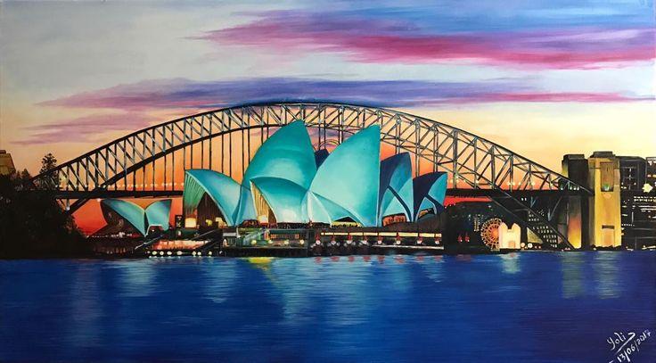 Yolima Venegas Opera House Sidney Australia óleo sobre tela de 130 x 73 cms ORIGINAL (Este domingo 18 de Junio parte a Sidney nuestra querida Yolima... ¡buen viaje! y vuelve pronto a alegrar nuestras tardes de pintura