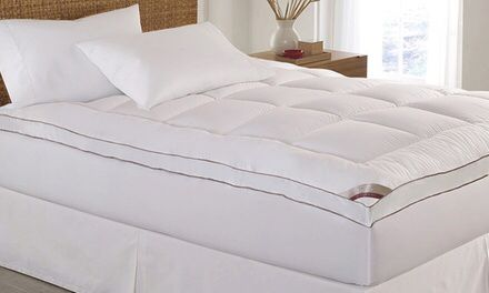 """Kathy Ireland 2"""" Thick Mattress Topper You'll be glad to tumble into this thick, cozy mattress topper, which is generously stuffed w/polyester filling to cushion sleepers' backs sides or stomachs as they rest. A sewn-through box stitch design ensures that fibers don't travel from one side of the bedding to the other or escape it entirely and emigrate to Ellis Island. The topper's side wall skirt stretches handily to fit over mattress up to 18"""" deep &stays firmly in place when released."""