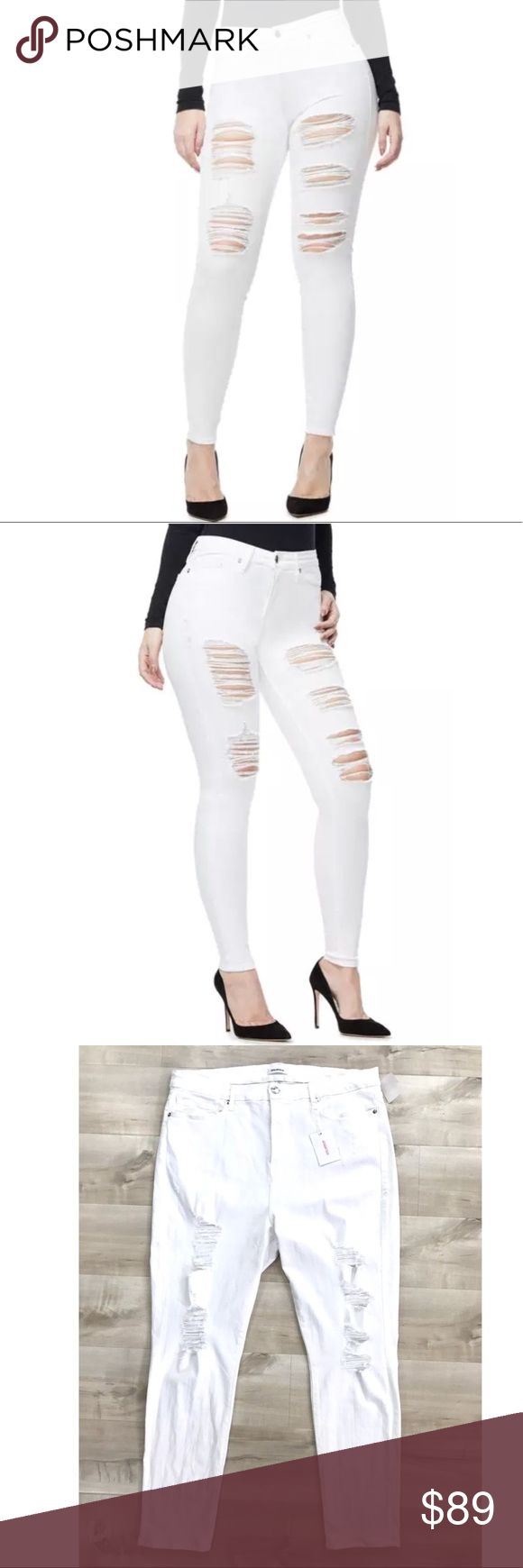 "Good American Good Legs Ripped High Rise Jeans * Good American Good Legs Ripped High Rise Skinny Jeans White   * New with tag/defect: This item has an original tag. It was Nordstrom store display and brand new.  * Skinny fit.   * High rise  * Slimming silhouette  * White wash denim  * Ripped with destruction down legs  * Made in USA with imported materials.   * 91.5% Cotton | 6% Polyester | 2.5% Elastane * MSRP $179.00  * Size 22 - Approximately 19"" waist(side to side), 13"" Rise , 29.5""…"