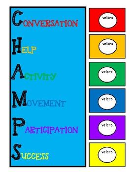CHAMPS chart for whole class or individual use