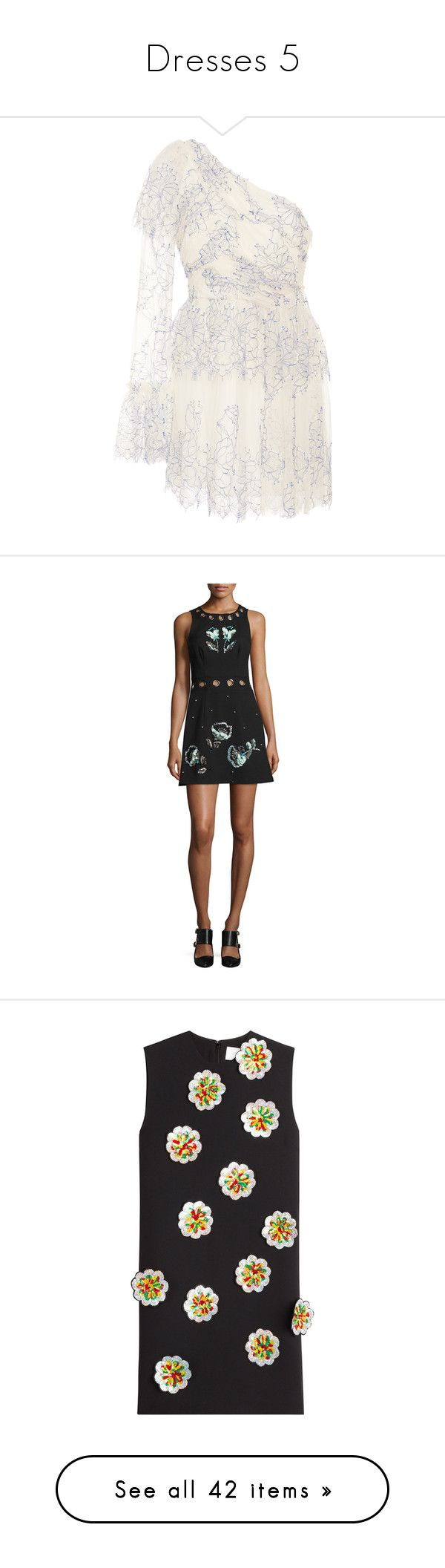 """""""Dresses 5"""" by onesweetthing ❤ liked on Polyvore featuring dresses, blue, empire waist dress, asymmetrical neckline dress, empire waist short dress, empire waist mini dress, blue empire waist dress, black, women's apparel dresses and short floral dresses"""