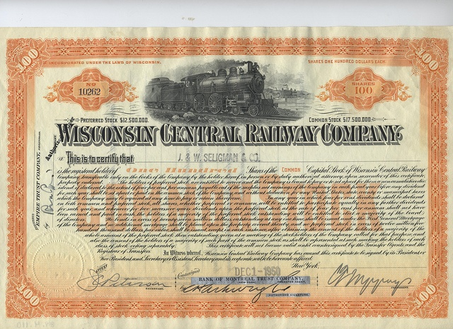 24 best certificados images on pinterest certificate design award wisconsin central railway company common stock certificate no 100 shares to j seligman co yelopaper Choice Image