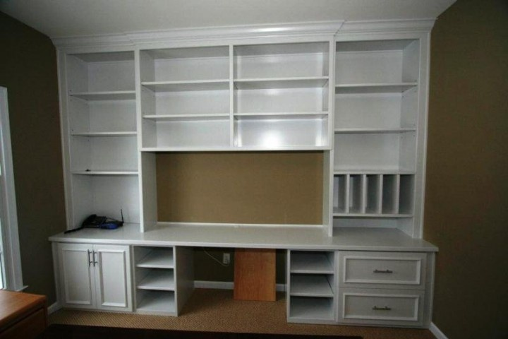 Custom Built White Bookcase Wall Unit Home office ideas