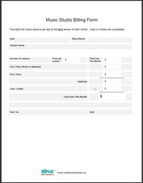 Free Printable Private Studio Billing Sheet.  Also has - Free Printable Music Worksheets
