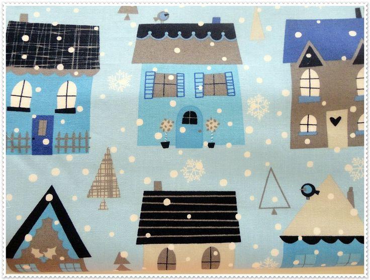 Mavi Evler Nevresim Takımı (Duvet Blue Houses) Mavi evlerin üzerine yağan karlarla süslenmiş çok şık nevresim takımı Bebedeko'da.