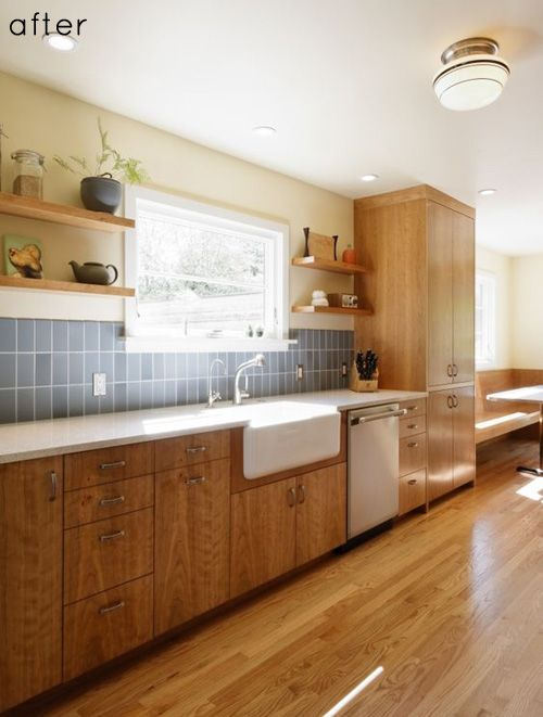 This before/after kitchen is beautiful. Via Design Sponge.Kitchens Design, Open Shelves, Kitchens Remodeling, Wood Kitchens, Kitchens Redo, Farmhouse Sinks, Galley Kitchens, Modern Kitchens, Architecture Design