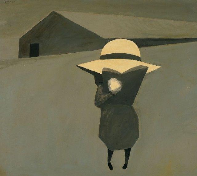 Schoolgirl Reading, 1954, Charles Blackman. Australian, born in 1928.