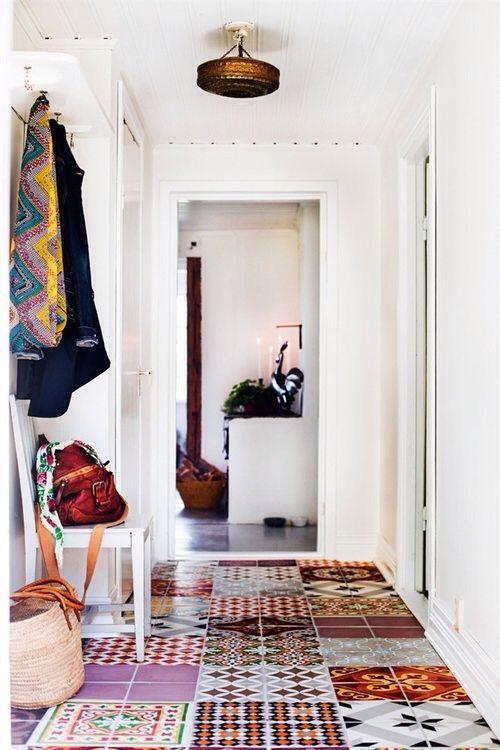 boho tile floor entrance